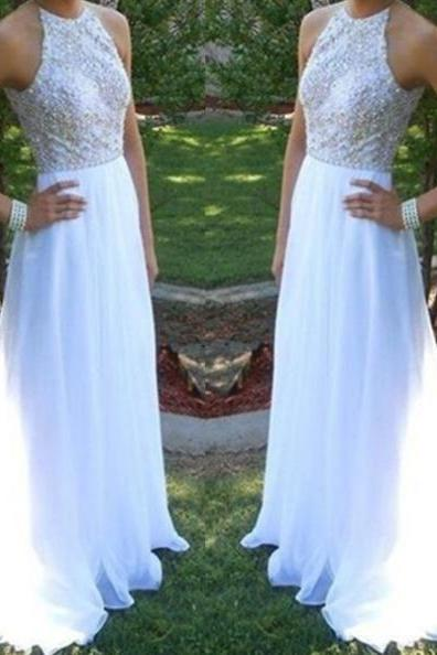 White A-Line Sleeveless Natural Zipper Sweep Train Chiffon Prom Dresses 2017